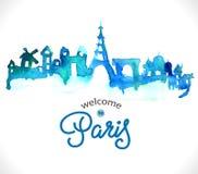 Paris skyline watercolor background royalty free illustration