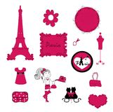 Paris. small details in pink. vector Royalty Free Stock Image