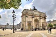 Paris. Small Triumphal arch is in the Tuileries Gardens Royalty Free Stock Photo