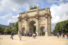 Paris. Small Triumphal arch is in the Tuileries Gardens Stock Image