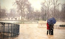 paris snow Arkivbilder