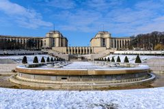 Paris - The snowy Trocadero Royalty Free Stock Images
