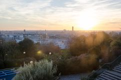 Paris solnedgång Royaltyfri Fotografi
