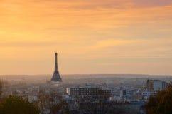 Paris solnedgång Arkivfoto