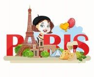 paris som löper Sight av Paris och Frankrike Romantiskt turist- kort i tappningstil stock illustrationer
