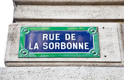 Paris - Sorbonne street sign Stock Photo