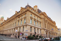 Paris-Sorbonne University building. PARIS- NOVEMBER 2: Paris-Sorbonne University building with people on November 02, 2016 in Paris, France royalty free stock photography