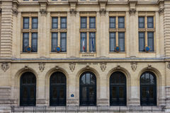 Paris Sorbonne University. Facade of Sorbonne university with french and European Union flags.paris Sorbonne university is the main inheritor of the old stock photography