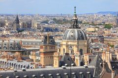 Paris - Sorbonne University. Paris, France - aerial city view with Sorbonne University chapel royalty free stock photo