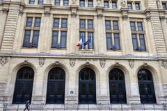 Paris-Sorbonne University, Paris. PARIS - AUG 11: A man walks past Paris-Sorbonne University in Paris, France on August 11, 2016. It is one of the oldest royalty free stock image