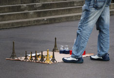 Paris souvenir. Souvenir seller in the streets of Paris Royalty Free Stock Photography