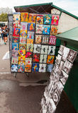 Paris souvenir shop counter with colorful postcards Royalty Free Stock Image