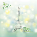 Paris spring background. Famous building Eiffel tower. Travel Fra Stock Image