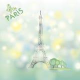 Paris spring background. Famous building Eiffel tower. Travel Fra Stock Image