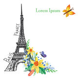 Paris  spring card.Eiffel tower,Watercolor flowers Stock Photos