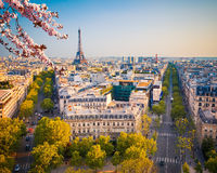 Paris at spring. View on Paris at spring evening, France Royalty Free Stock Images