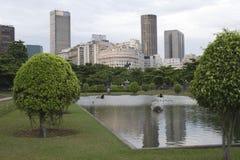 Paris Squair i Rio de Janeiro, sikt på mitten av staden Royaltyfri Foto
