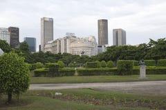 Paris Squair i Rio de Janeiro, sikt på mitten av staden Arkivfoto