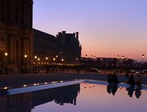 Paris. Square in front of Louvre at night Stock Images