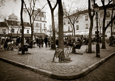 Paris square - Montmartre. View of Paris square in Montmartre distric royalty free stock images