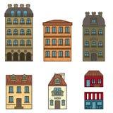 Paris ställde den plana linjen in hus i den olika färger isolerade vektorillustrationen av plana byggnader vektor illustrationer