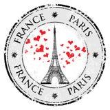 Paris-Stadt im Frankreich-Schmutzstempel-Liebesherzen, Eiffelturmvektor Stockbilder