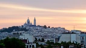 "Paris-Stadtbildsonnenuntergang von Sacré-CÅ ""ur Stockfotos"