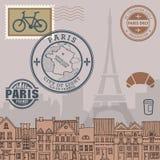 Paris stamps set Stock Photo