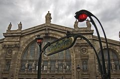 Paris Station Gare du Nord wit. The classical facade of the station with the historical entrance of the metro by architect Guimard around 1900 Stock Image