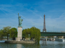 Paris - Statue of Liberty and Eiffel Tower (Color) Stock Photo