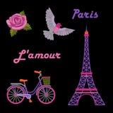 Paris-Stickereisatz Lizenzfreies Stockbild