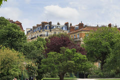 Paris still life. PARIS, FRANCE - MAY 12, 2015: This is the view from the gardens of the Champ de Mars to the adjacent urban development Royalty Free Stock Photography