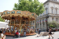 Paris street carousel in summer Stock Photography