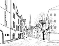 Paris street. Cityscape - houses, buildings and tree on alleyway Stock Photos