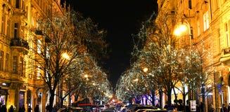 Free Paris Street In Prague In December, Decorative Lights On Trees Royalty Free Stock Photos - 63573308