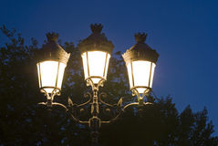 Paris street lamp. Night scene on at Paris Notre Dame Cathedral's square Royalty Free Stock Photo