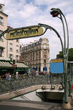 Paris street and Metro entrance Stock Image