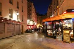 Paris street at night Royalty Free Stock Photos