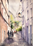 Paris. Street.Picture created with watercolors Stock Images