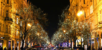 Paris Street in Prague in December, Decorative Lights on Trees Royalty Free Stock Photos