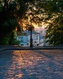 Paris Street at Sunrise Stock Photo