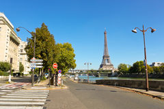 Paris street, Seine, Bir-Hakeim bridge  and Eiffel tower Royalty Free Stock Photography