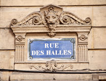Paris street sign rue des Halles Stock Image