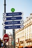 Paris Street Signs. Montmartre, Opera, Republique, Belleville Royalty Free Stock Photography