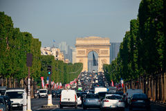Paris street view. Arc de Triomphe and street view in Paris Royalty Free Stock Photos