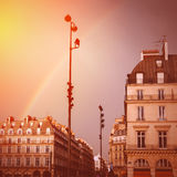 Paris Street View with Rainbow in the Sky After Rain Stock Image
