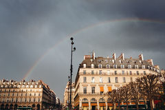 Paris Street View with Rainbow Stock Photos