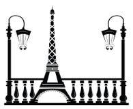 Paris Street Walkway with Tour Eiffel. Vector sketch Stock Photo