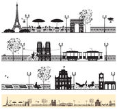 Paris streets. Seamless frieze with the Paris streets and architectural sights