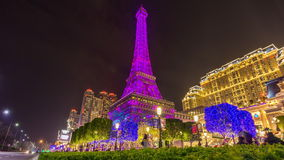 Paris style macau hotel night illumination panorama 4k time lapse china. China paris style macau famous hotel night illumination panorama 4k time lapse stock video footage